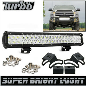 20 Led Work Light Bar Fit 2007 2019 Toyota Tundra Bull Bar Bumper Grille Guard