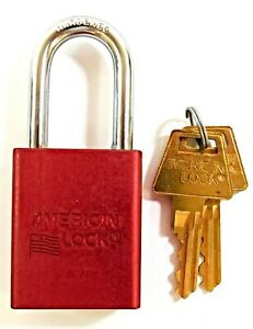 American Lock A1106kamkred Red Anodized Aluminum Keyed Safety Padlock