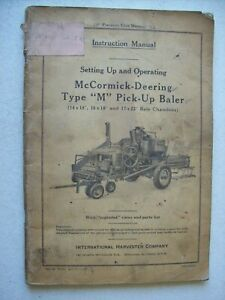 Original International Mccormick Type M Pick Up Baler Owners Parts Manual