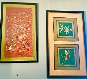 3 Chinese Silk Embroidery Panel Textile Tapestry Children Floral 33 Antique