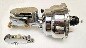 Chrome 8 Dual Power Brake Booster W Flat Top Master Cylinder Disc Drum Valve