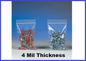 1000 Reclosable Poly Plastic 4 Mil Ziplock Bags 2 To 5 33 Sizes Available