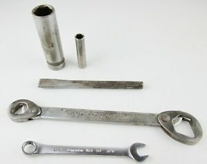 Vintage Mechanic Tool Lot Wrenches Chisel Punch Sockets 5 Pc Mixed