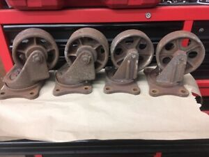 Industrial Vintage Metal Caster Wheels