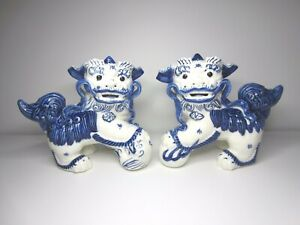 Foo Dogs Delft Blue And White Foo Dogs Large Shishi Lion Pair