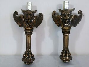 Antique Victorian Winged Griffin Gas Wall Sconces