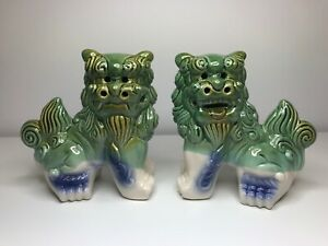 Nice Colorful Foo Dogs Green Blue And Brown Glaze