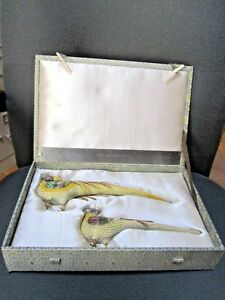 Antique Pair Of Chinese Cloisonne Pheasants In Satin Lined Hard Case
