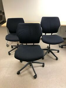 Black Humanscale Freedom Office Task Chair Black Wave Fabric
