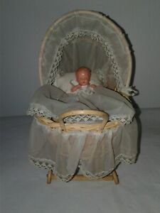 Vintage Antique Wicker Wooden Baby Doll Buggy Carriage With Bonus Baby Doll