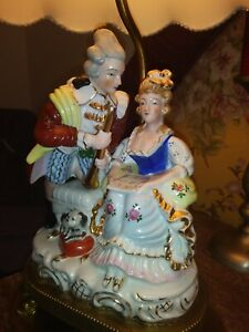 Early Vintage Dresden Musical Couple Porcelain Figural Lamp W Silk Shade