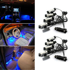 2set Led Car Interior Atmosphere Blue Light Charge Floor Decor Lamp Accessories