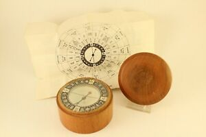 Vintage Asian Art Associates Nautical Chinese Mariners Compass Teak Wood W Lid