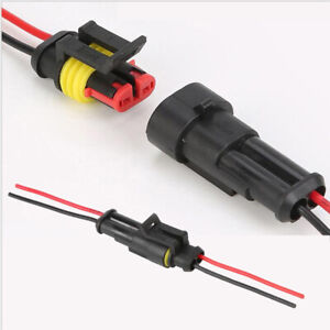 2 pin Way Sealed Waterproof Electrical Connector Plug Car Auto Male Female Wire