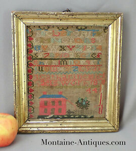 Charming Little House Sampler Catherine Michaels Cf American Dated 1844