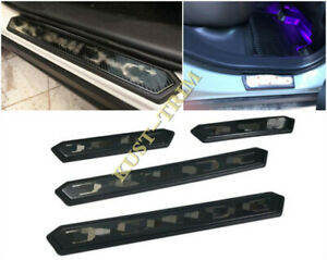 Black Door Sill Plate Entry Guards Protector Trim 4pcs For Toyota Rav4 2019 2020