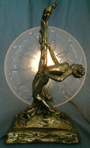 Armor Bronze Nude Dancer Lady Peacock Brass Clad Lamp Consolidated Nymph Plate