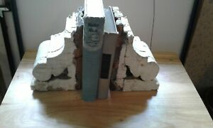 Antique Salvaged White Corbels Chippy Shabby Chic Patina Shelf Brackets Bookends