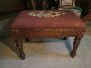 Ant Carved Org Needlepoint Cherry Foot Stool 15 1 4 L X 8 3 4 W X 10 H