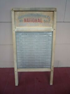 Vintage National 512 Laundry Washboard Victory Ribbed Glass Wood Primitive