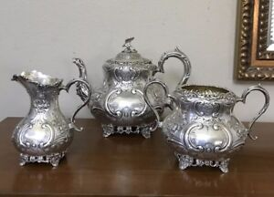 Rare Fenton Brothers Ltd Sheffield Sterling Silver Teapot Creamer Sugar Set