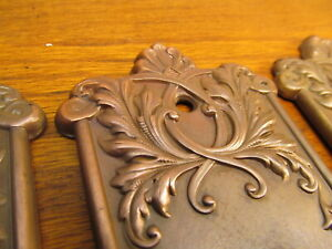 One Brass Plated Stamped Metal Door Knob Plates Ornate Scrolling