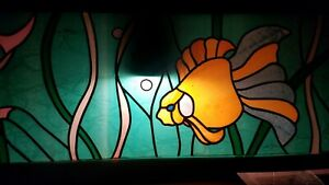 Vintage Stained Glass Leaded Glass Window Under The Sea Fish Aquarium Scene
