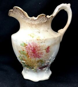Antique Victorian Edwin Knowles Semi Vitreous Porcelain Water Pitcher 8 H