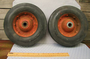 2 Vtg Craftsman Solid Rubber Tires Metal Hubs Industrial Cart Wheels 10x2 75