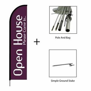Open House Feather Flag Swooper Banner Pole Kit Real Estate Sign 15ft Purple
