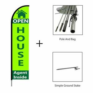Open House Real Estate Sign green Feather Flag Swooper Banner Pole Kit 15ft
