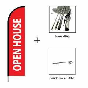 Open House Sign Feather Flag Pole Kit Real Estate Advertising Banner 15ft Red