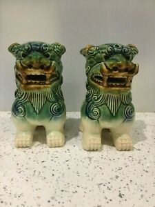 Pair Of Vintage Chinese Blue Glazed Fu Foo Dog Lion Figurines Boho Eclectic
