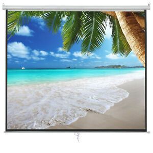 100 16 9 Projection White Screen Manual Pull Down Projector Home Movie Matte