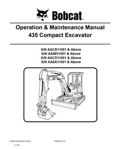 New Bobcat 435 Compact Excavator Operation Maintenance Manual 6986748 Free S h