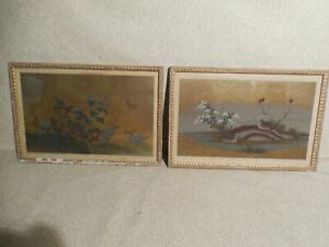 Pair Of Original Chinese Scroll Paintings Of Birds Quail Cranes Signed