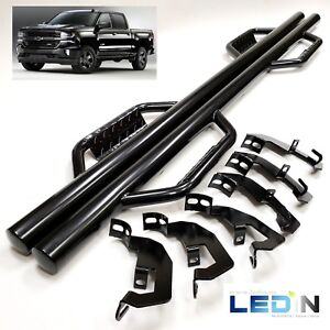 Side Step Nerf Bar For 07 18 Silverado Gmc Sierra Crew Cab Black Dropped Step