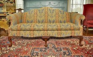 Fantastic Custom Made Chippendale Camel Back Sofa With Carved Ball And Claw Feet