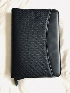 Day timer Classic Planner Black Faux Leather Woven Binder Organizer 7 ring Zip