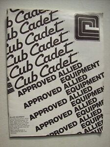 Original Cub Cadet Approved Allied Equipment Guide Cabs Rakes Sprayer Trailers