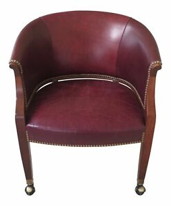 F47701ec Hickory Chair Co Leather Desk Or Office Chair On Casters
