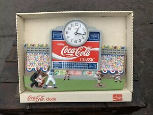 Vintage Coca Cola Clock baseball stadium coke IN ORIGINAL BOX!!!