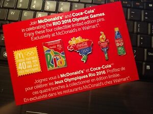 2016 RIO OLYMPIC WORLDWIDE PARTNER MCDONALDS COCA COLA PIN SET 4 PINS A