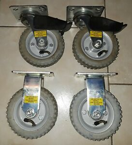 Set Of 4 New E r Wagner Pneumatic Metal Plate Casters 2 Swivel