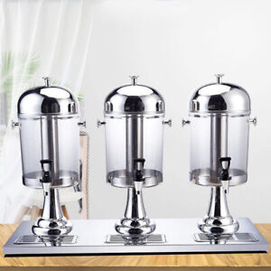 Commercial 3 Tank 8lx3 Cold Drink Juice Beverage Dispenser Silver Stainless Us