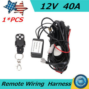 Wiring Harness Kit Led Flash Strobe Remote Control 40a 12v Switch Relay 2 Leads