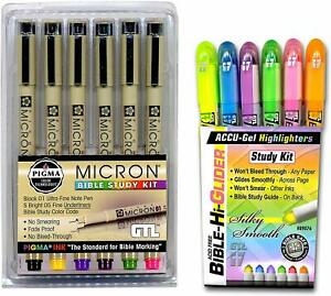 Accu gel Bible Highlighters Plus Pigma Micron Bible Underlining Pens 6 Pack