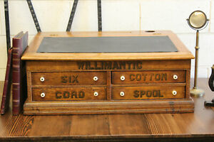 Antique Industrial Willimantic 4 Drawer Flat File Cabinet Spool Thread Map Oak