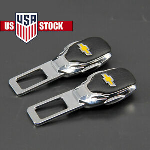 2pc Car Parts Interior Accessories Safety Seat Belt Plug Clip Logo For Chevrolet