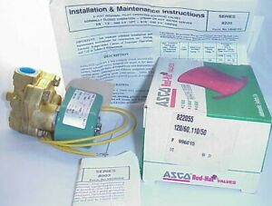 Asco 822055 2 Way 1 2 5 125 Psi Steam Service Solenoid Valve 120 Vac Coil New